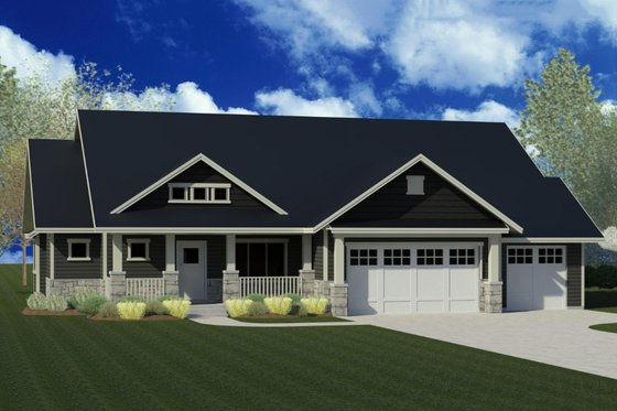 Craftsman Exterior - Front Elevation Plan #920-50