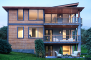 Contemporary Style House Plan - 4 Beds 4 Baths 3896 Sq/Ft Plan #1066-31 Exterior - Rear Elevation