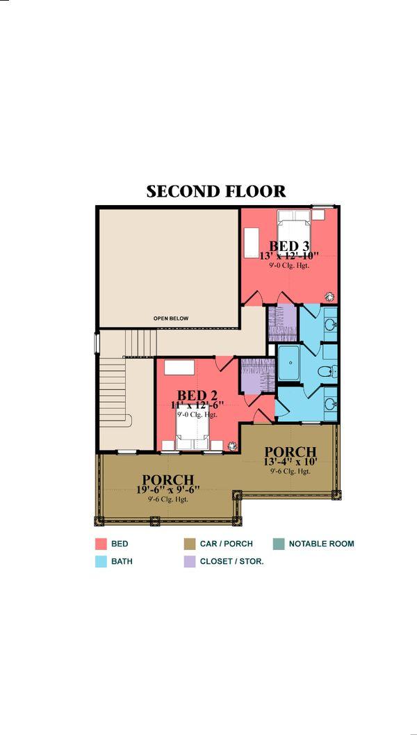 Southern Floor Plan - Upper Floor Plan Plan #63-264