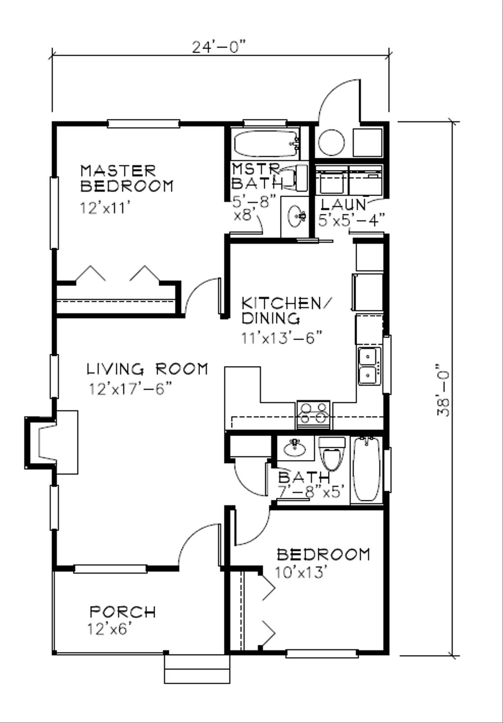 Cottage Style House Plan - 2 Beds 2 Baths 838 Sq/Ft Plan #515-18 on 2 bedroom house house plans, studio style house plans, bungalow style house plans, english tudor style house plans, 2 bedroom ranch house plans,