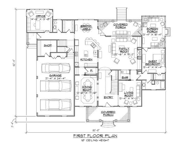 House Plan Design - Colonial Floor Plan - Main Floor Plan #1054-78