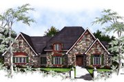 European Style House Plan - 4 Beds 3.5 Baths 3650 Sq/Ft Plan #70-533 Exterior - Front Elevation