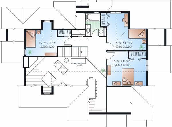 Traditional Floor Plan - Upper Floor Plan Plan #23-727