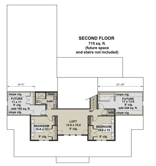 Farmhouse Floor Plan - Upper Floor Plan #51-1150