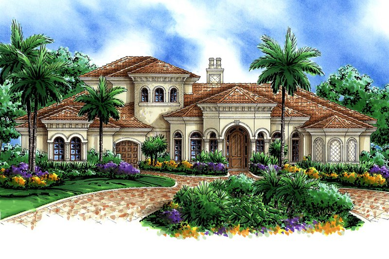 Mediterranean Style House Plan - 4 Beds 4.5 Baths 7948 Sq/Ft Plan #27-561 Exterior - Front Elevation