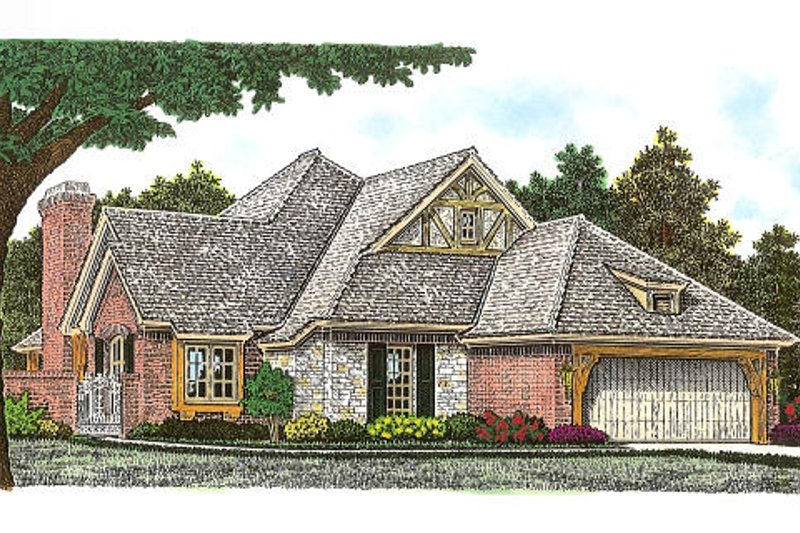 European Style House Plan - 2 Beds 2 Baths 2172 Sq/Ft Plan #310-957 Exterior - Front Elevation