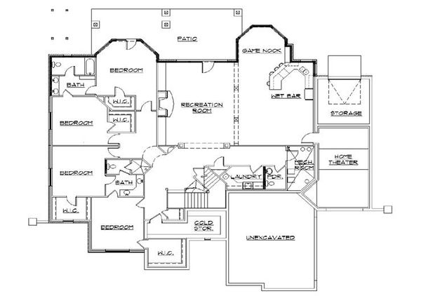 Craftsman Floor Plan - Lower Floor Plan Plan #5-334