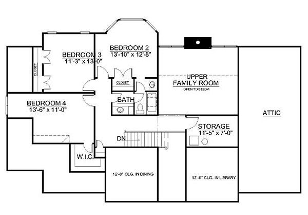 Classical Floor Plan - Upper Floor Plan Plan #119-245