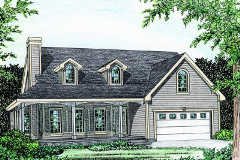 Country Style House Plan - 3 Beds 2 Baths 1570 Sq/Ft Plan #20-159 Exterior - Front Elevation
