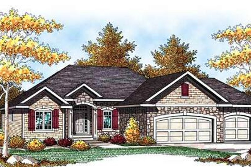 Country Style House Plan - 3 Beds 2 Baths 1734 Sq/Ft Plan #70-930 Exterior - Front Elevation