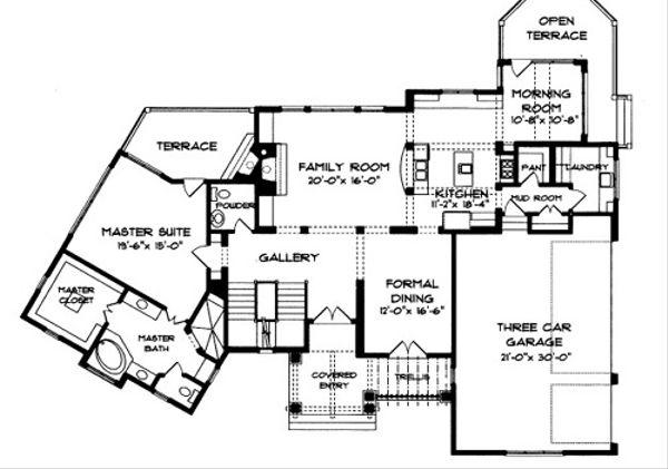 Tudor Floor Plan - Main Floor Plan Plan #413-114