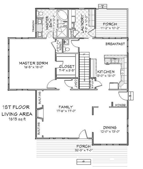 Main level floor plan - 2600 square foot Craftsman home