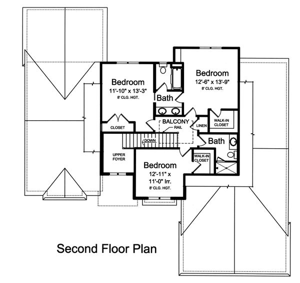Traditional Floor Plan - Upper Floor Plan Plan #46-873