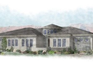 Adobe / Southwestern Exterior - Front Elevation Plan #24-290