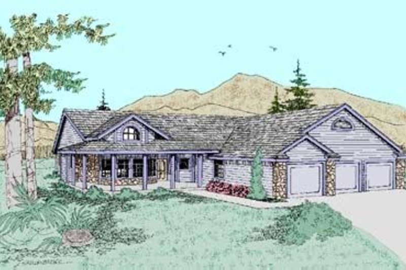 Traditional Style House Plan - 3 Beds 3 Baths 2221 Sq/Ft Plan #60-246 Exterior - Front Elevation