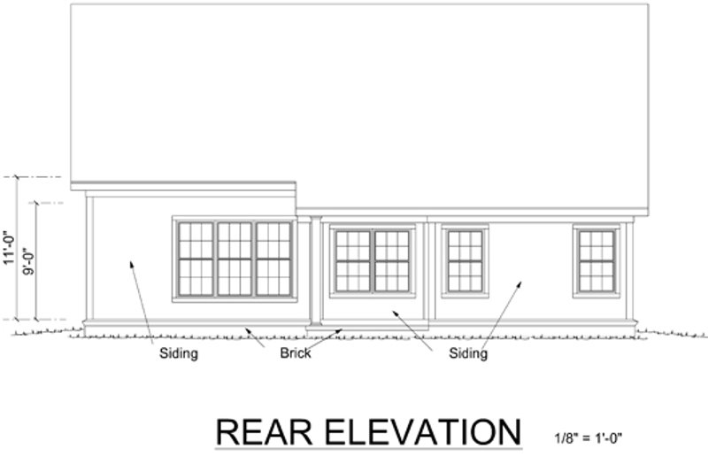 Traditional Exterior - Rear Elevation Plan #513-2052 - Houseplans.com