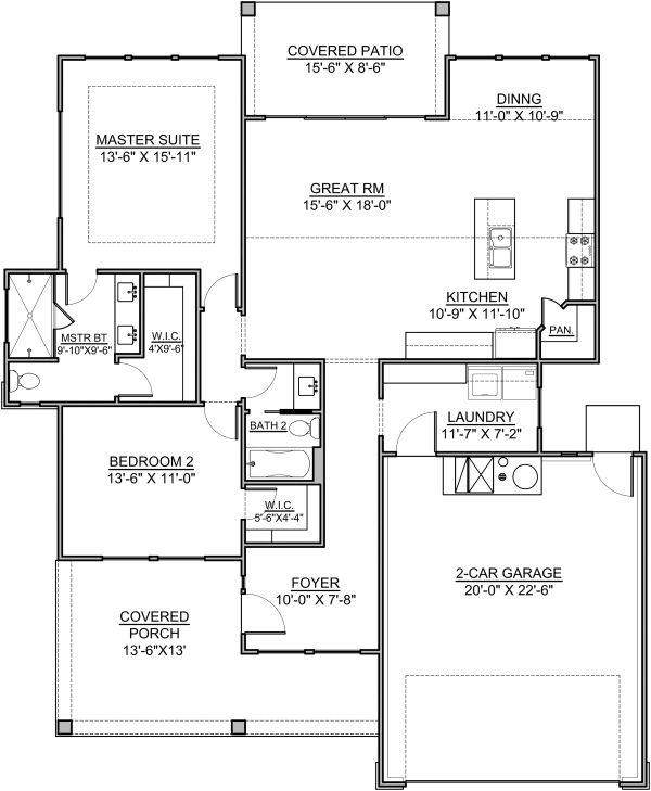 Craftsman Floor Plan - Main Floor Plan #1073-15