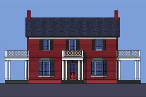 Colonial Exterior - Front Elevation Plan #492-2