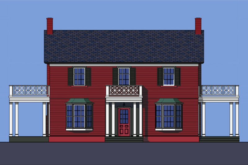 Colonial Style House Plan - 3 Beds 2.5 Baths 2358 Sq/Ft Plan #492-2 Exterior - Front Elevation