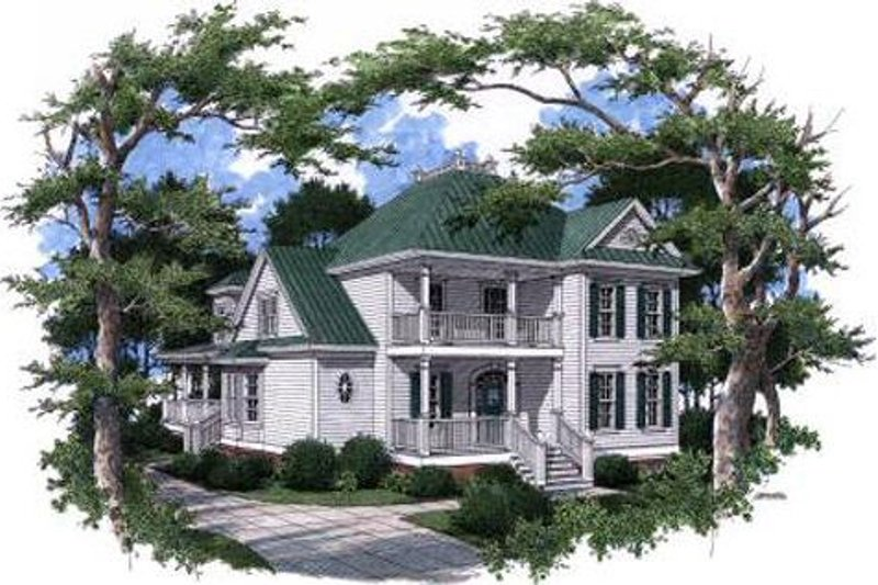 Victorian Style House Plan - 5 Beds 4 Baths 3444 Sq/Ft Plan #37-226 Exterior - Front Elevation
