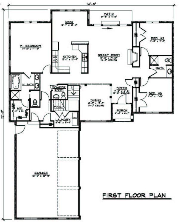 European Floor Plan - Main Floor Plan Plan #1064-3