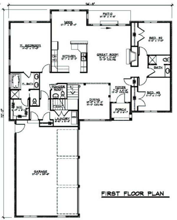 European Floor Plan - Main Floor Plan Plan #1064-3