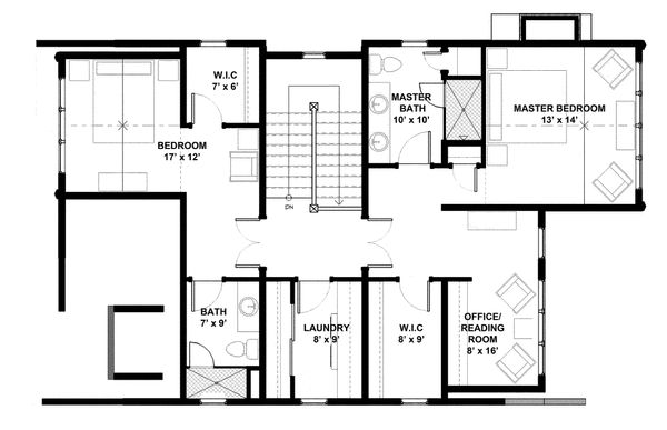 Bungalow Floor Plan - Upper Floor Plan Plan #928-9