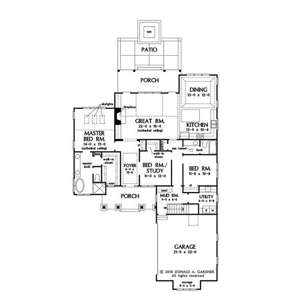 Cottage Floor Plan - Main Floor Plan #929-1084