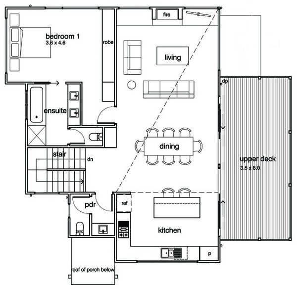 Modern Floor Plan - Upper Floor Plan Plan #496-21