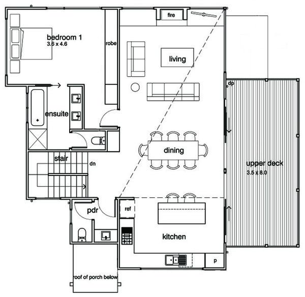 Modern Floor Plan - Upper Floor Plan Plan #496-21