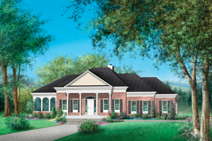 Classical Exterior - Front Elevation Plan #25-4822