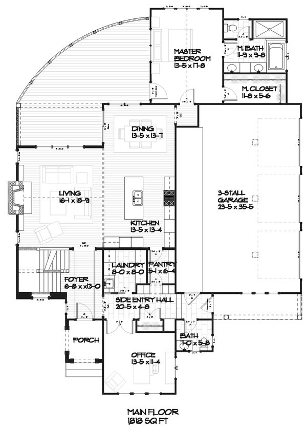 Country Style House Plan - 4 Beds 3.5 Baths 3086 Sq/Ft Plan #901-1 Floor Plan - Main Floor Plan