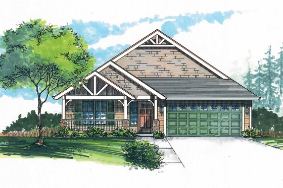 Craftsman Exterior - Front Elevation Plan #53-462