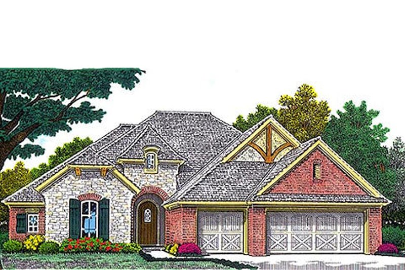 Tudor Exterior - Front Elevation Plan #310-963