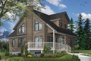Country Style House Plan - 2 Beds 2 Baths 1285 Sq/Ft Plan #23-2030 Exterior - Front Elevation
