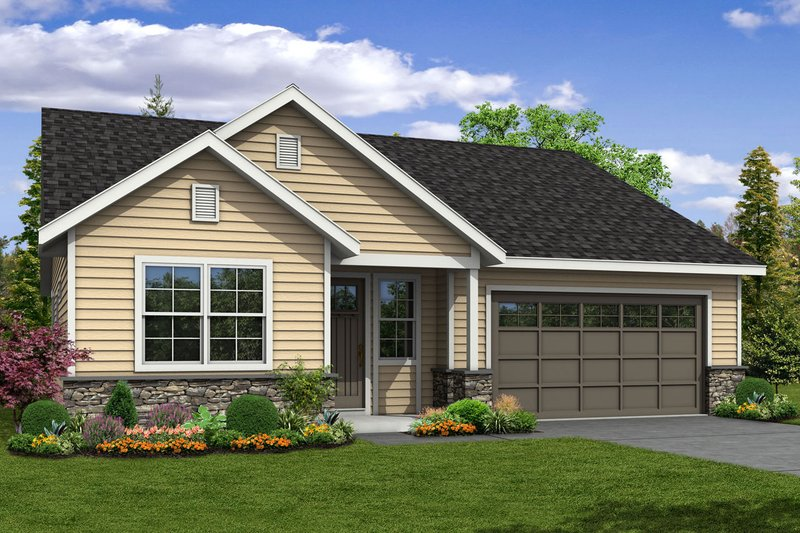 Traditional Style House Plan - 3 Beds 3 Baths 2219 Sq/Ft Plan #124-1047 Exterior - Front Elevation
