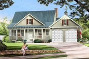 Farmhouse Style House Plan - 3 Beds 2 Baths 1738 Sq/Ft Plan #137-273 Exterior - Front Elevation