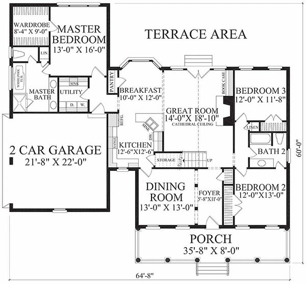 Country Floor Plan - Main Floor Plan Plan #137-198