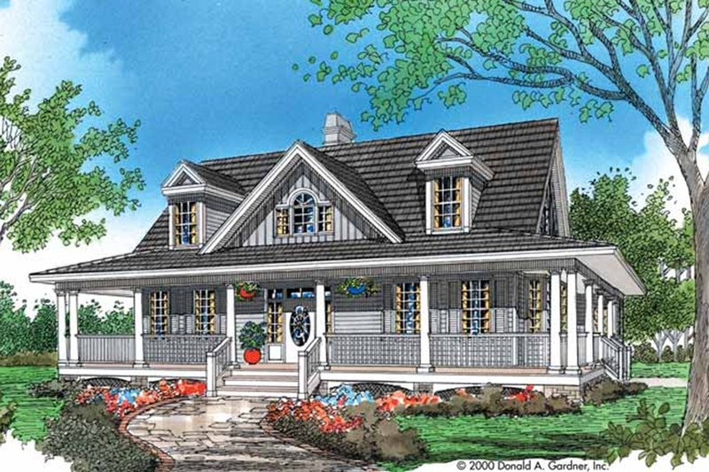 Country Style House Plan - 3 Beds 2.5 Baths 1968 Sq/Ft Plan #929-48 Exterior - Front Elevation