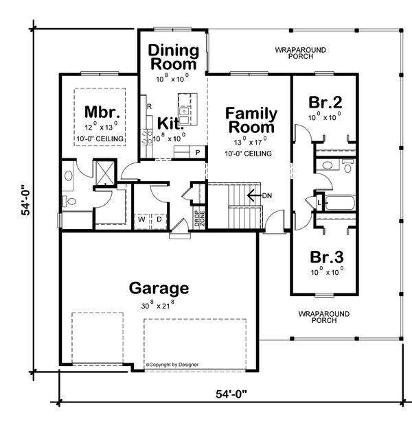 House Blueprint - Farmhouse Floor Plan - Main Floor Plan #20-2444