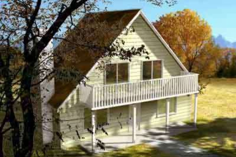 Country Style House Plan - 2 Beds 2 Baths 1441 Sq/Ft Plan #1-1254 Exterior - Front Elevation