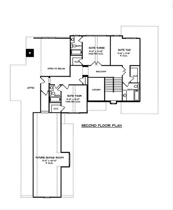 European Floor Plan - Upper Floor Plan Plan #413-141