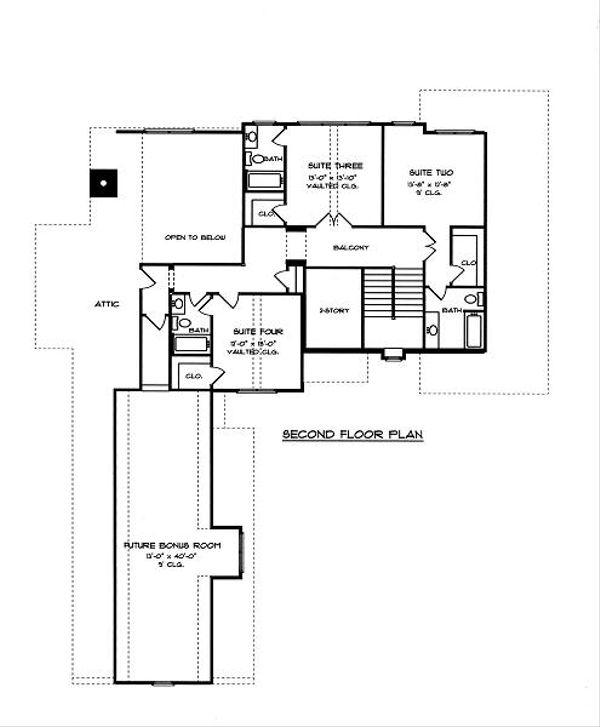 European Floor Plan - Upper Floor Plan Plan #413-141