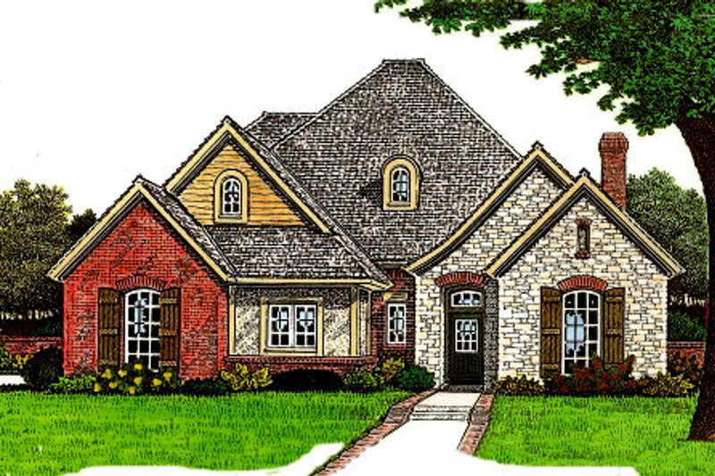 European Style House Plan - 3 Beds 2.5 Baths 2138 Sq/Ft Plan #310-675 Exterior - Front Elevation