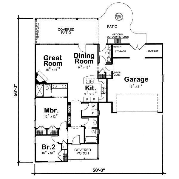 Traditional Floor Plan - Main Floor Plan Plan #20-2074