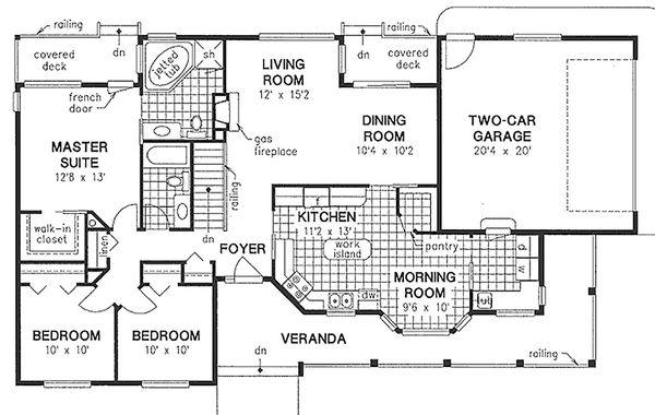 House Design - Ranch Floor Plan - Main Floor Plan #18-198