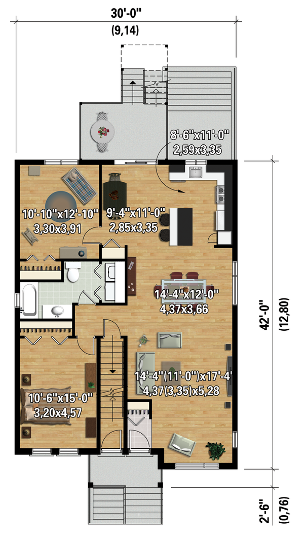 Contemporary Floor Plan - Main Floor Plan Plan #25-4356