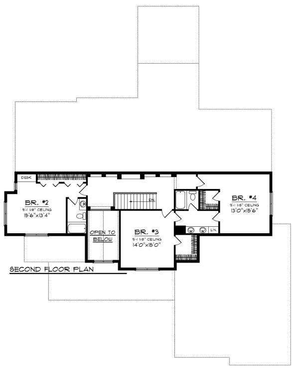 Country Floor Plan - Upper Floor Plan Plan #70-1148