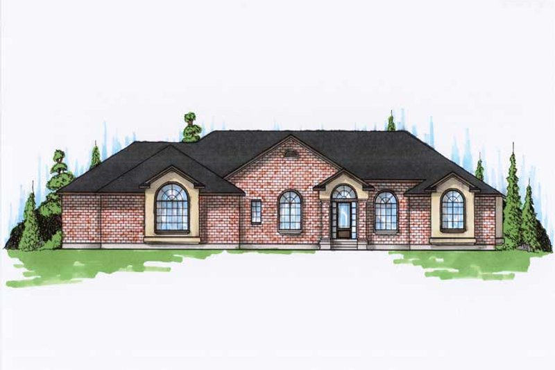 European Style House Plan - 6 Beds 4.5 Baths 2878 Sq/Ft Plan #5-325 Exterior - Front Elevation