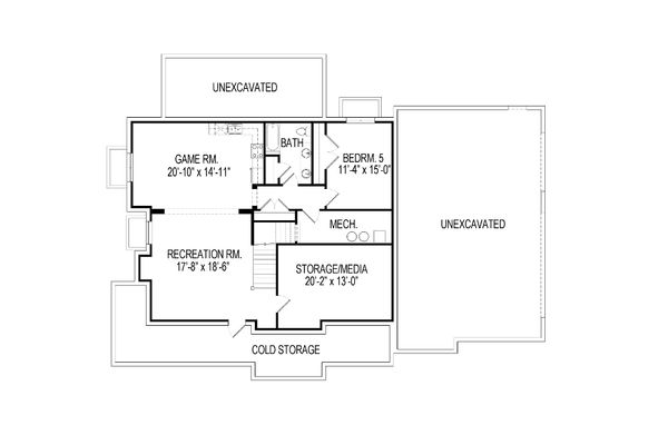 Craftsman Floor Plan - Lower Floor Plan Plan #920-8